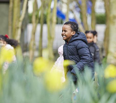 boy thriugh daffodils KS1